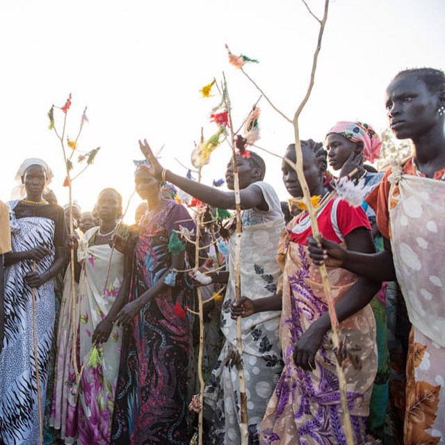 And here are the fine ladies we spent the day with. Nuer dancing is playful, aggressive and beautiful. Photo by Katie Basile @basilekatie